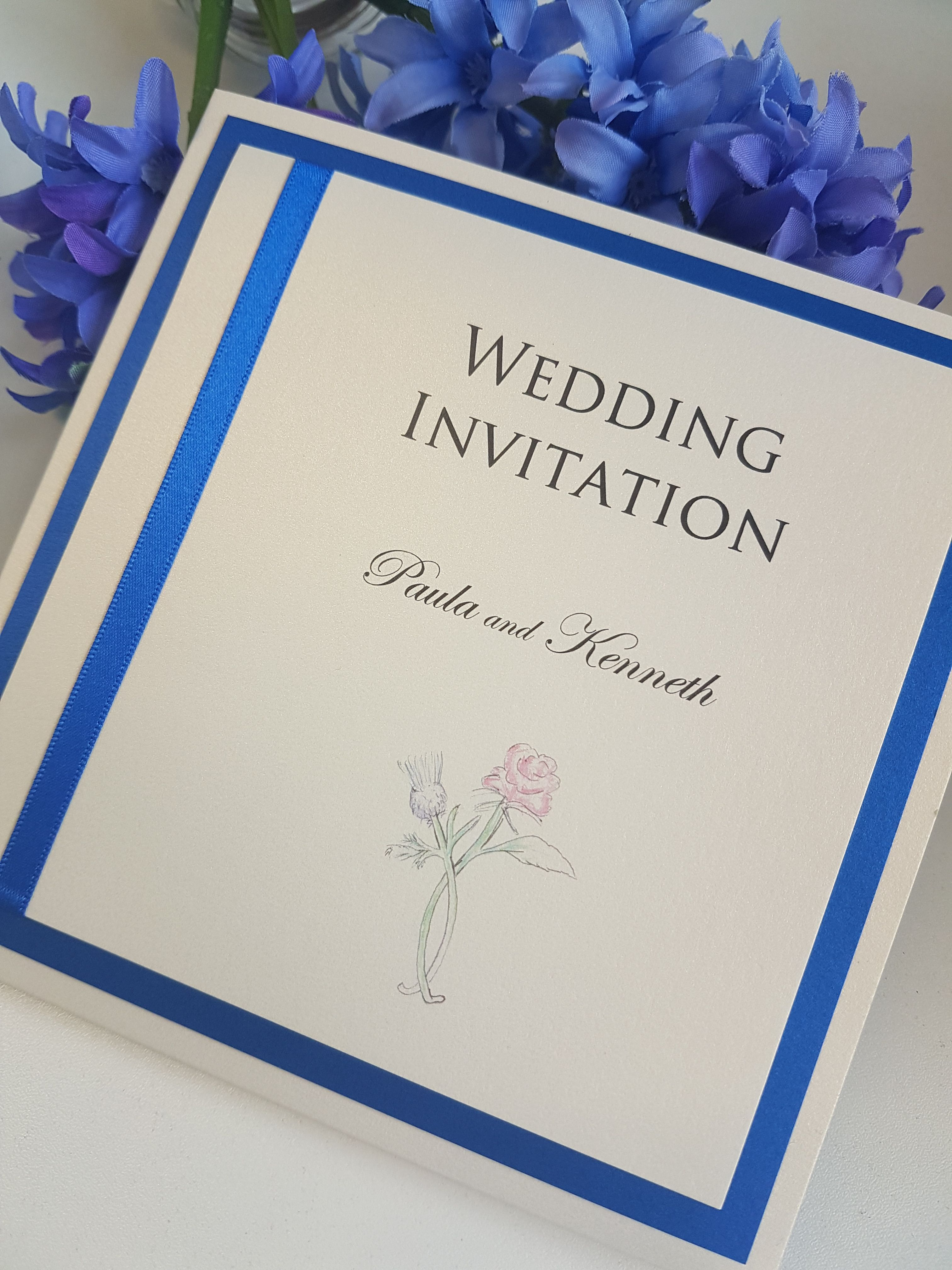 Rose and Thistle themed wedding invitations. Scottish and English ...