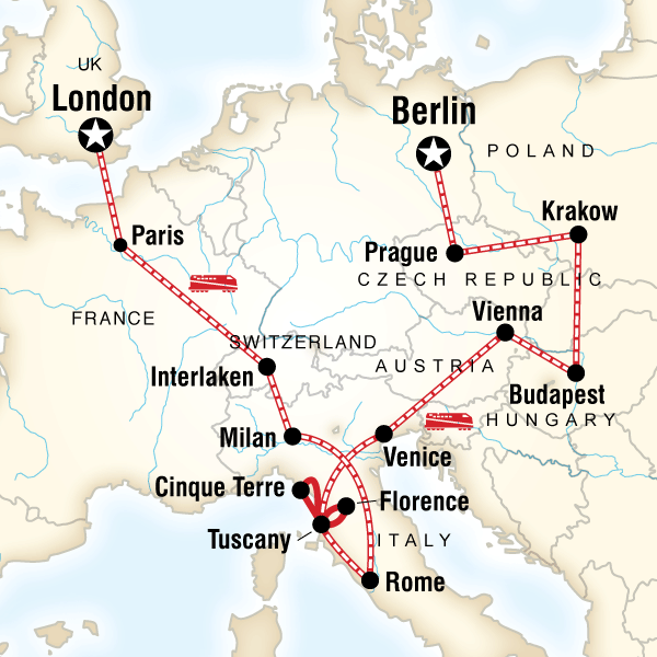 Map Of The Route For London To Berlin On A Shoestring Budapest Trip Travel Tours
