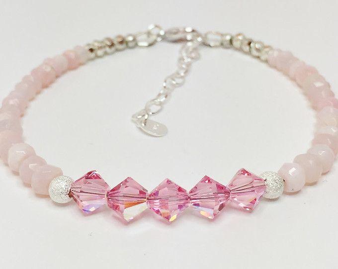 0053610158b7 Ópalo rosa con cristal de Swarovski plata pulsera abalorios piedras  preciosas joyería delicada apilamiento pulsera regalo único para su joyería  rosa