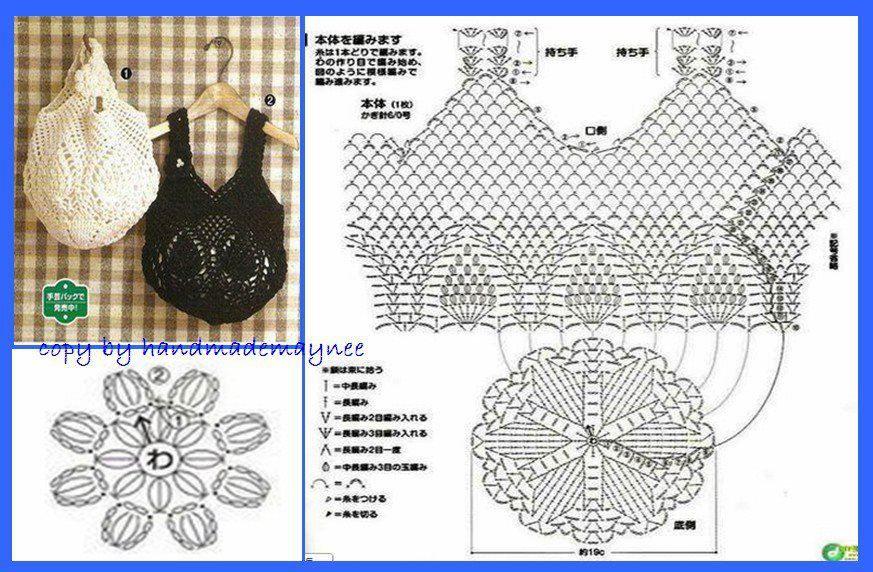 Crochet Bag - Chart | Pontos | Pinterest | Bolsos, Monederos y Ganchillo