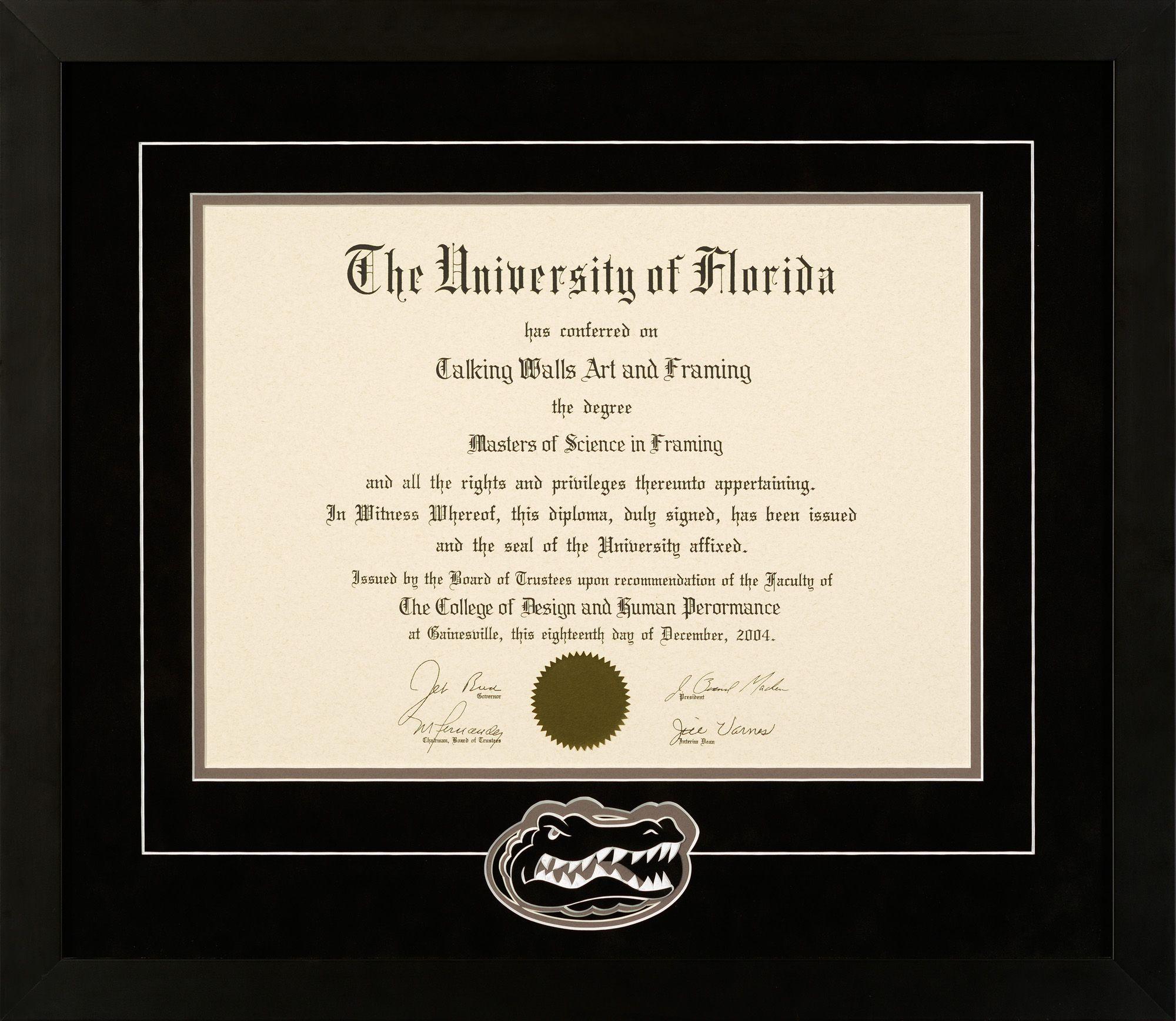 University Of Florida Diploma Frame With Gator Head Logo Black Mat Diploma Frame Frame University Of Florida