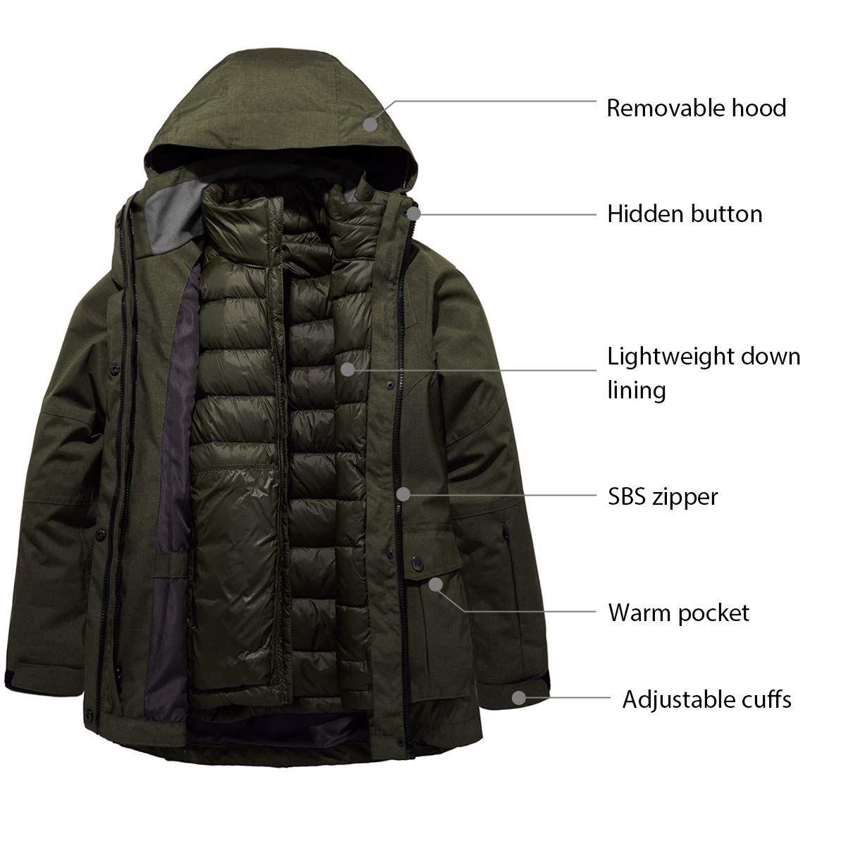 Wantdo Women's 3 in 1 Down Jacket Warm Winter Coat ...