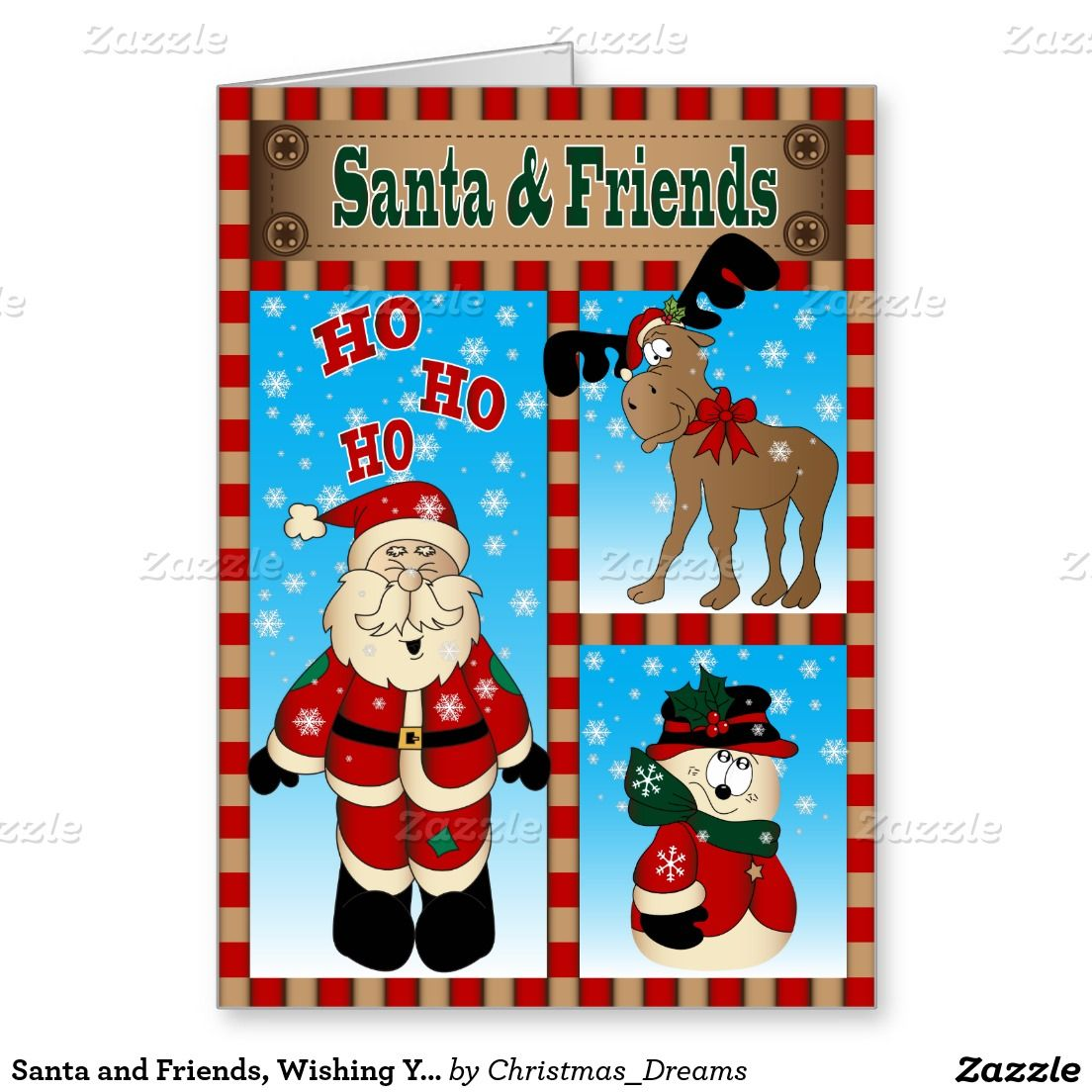 Santa and Friends, Wishing You a Merry Christmas Card | Merry ...