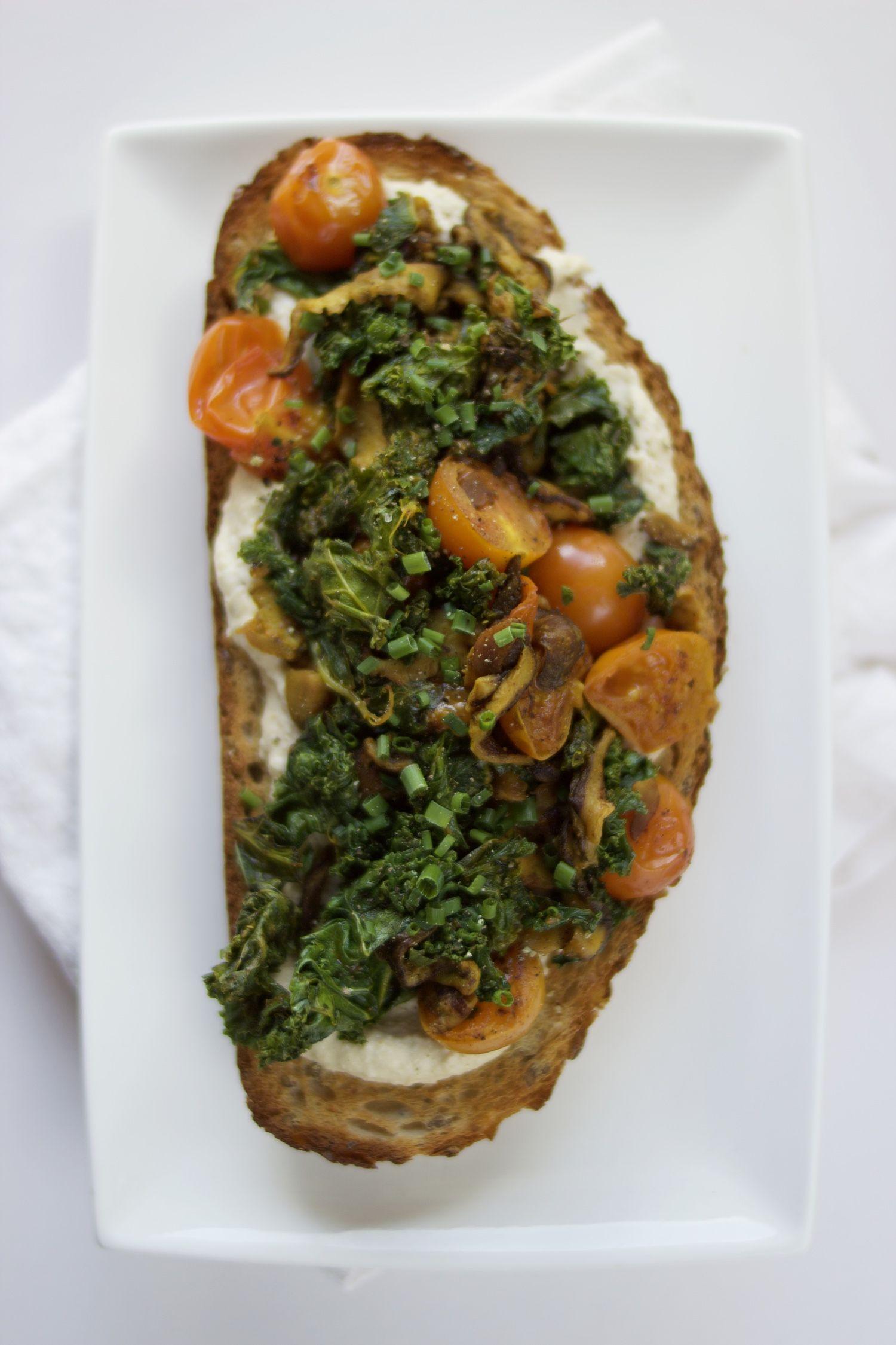 Hummus Kale Shiitake And Turmeric Toast Spice Garden