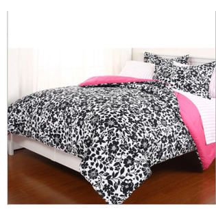7f01d611ae Teen Bedding -Black, White & Pink Reversible Girls Full Comforter Set (7  Piece Bed In A Bag)