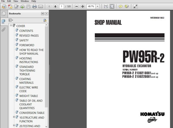 Komatsu Pw95r 2 And Up Wheeled Excavator Shop Manual Sn 21d0210001 And Up 21d0220001 Pdf Download