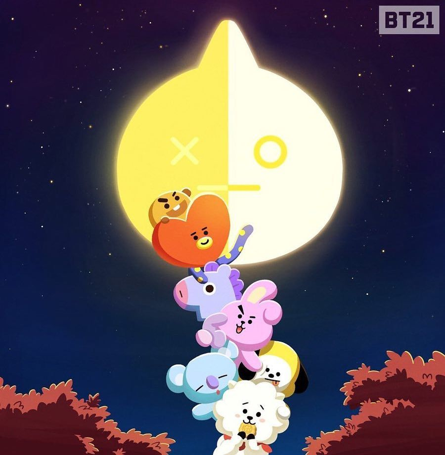 Thank You For Brightening The Night Fullmoon Midautumnday Bt21 Bts Christmas Wallpaper Iphone Christmas Bts Wallpaper