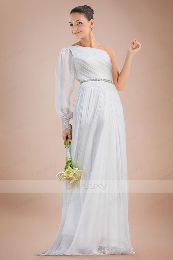 Ethereal Asymmetric Neckline A-line Bridal Gown with Pleats and ...