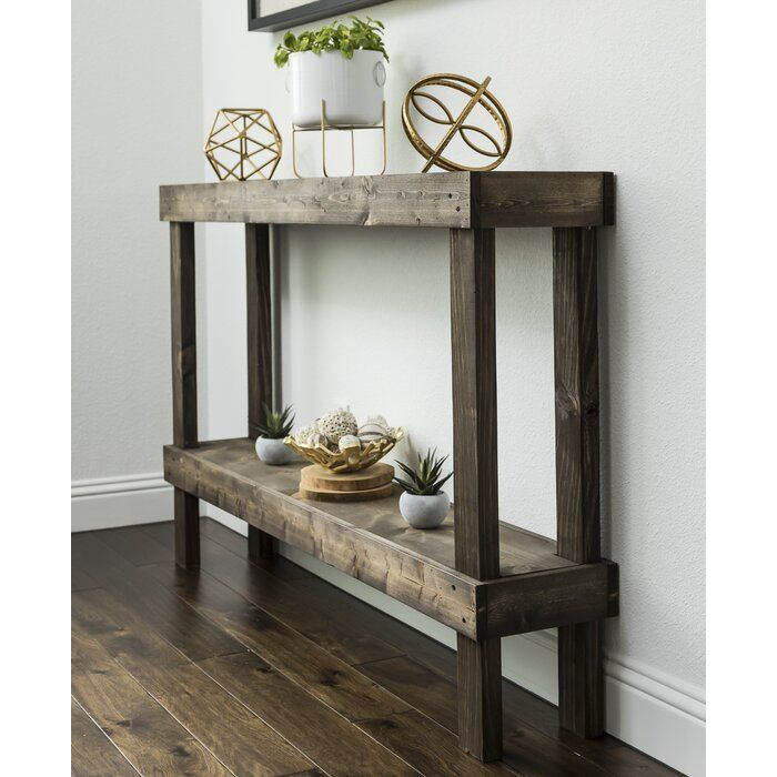 Dunlap Solid Wood Console Table Unique - Solid Mahogany Wood Entry Wall Console Sofa Table