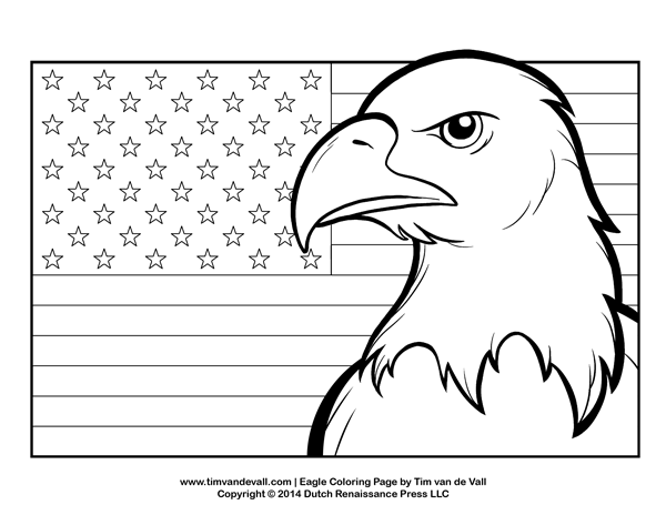 Bald Eagle Flying High Coloring Page