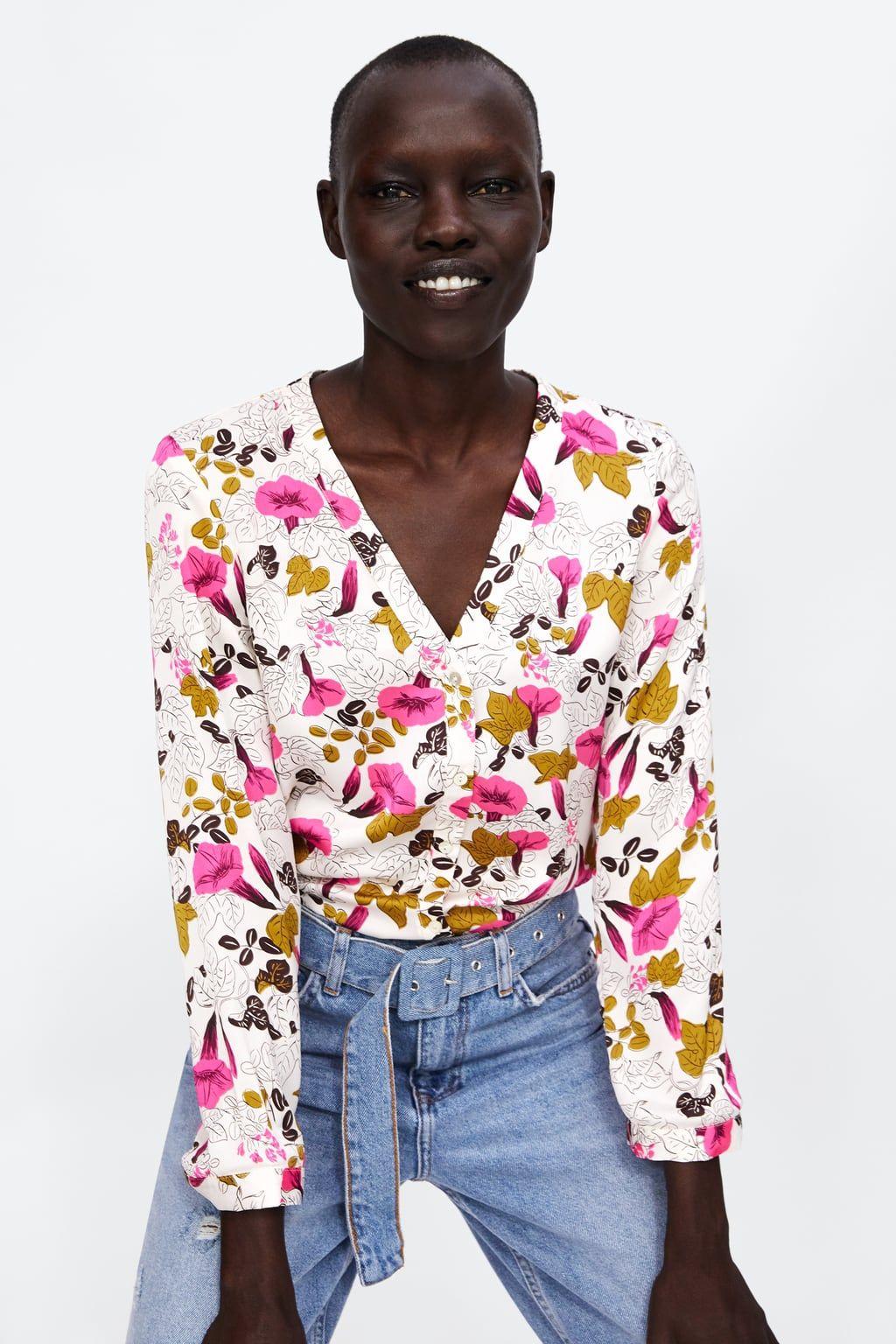 Zara Dan 2 Cicek Desenli Gomlek Resmi High Fashion Street Style Fashion Floral Print Shirt