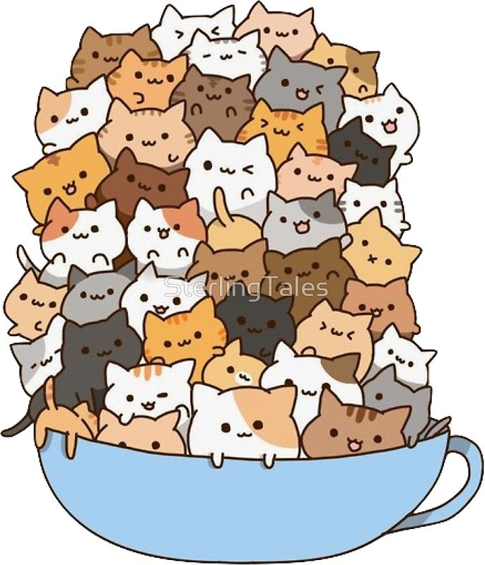 Cute Cup Of Cats Sticker