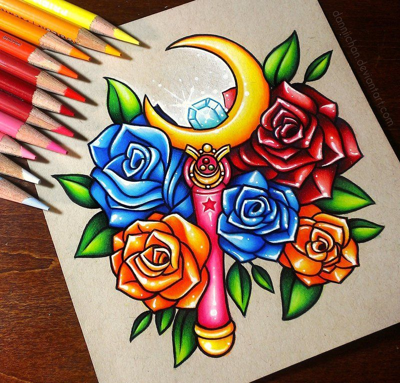 Crescent Moon Wand and Roses - Commission by danniichan.deviantart.com on @DeviantArt