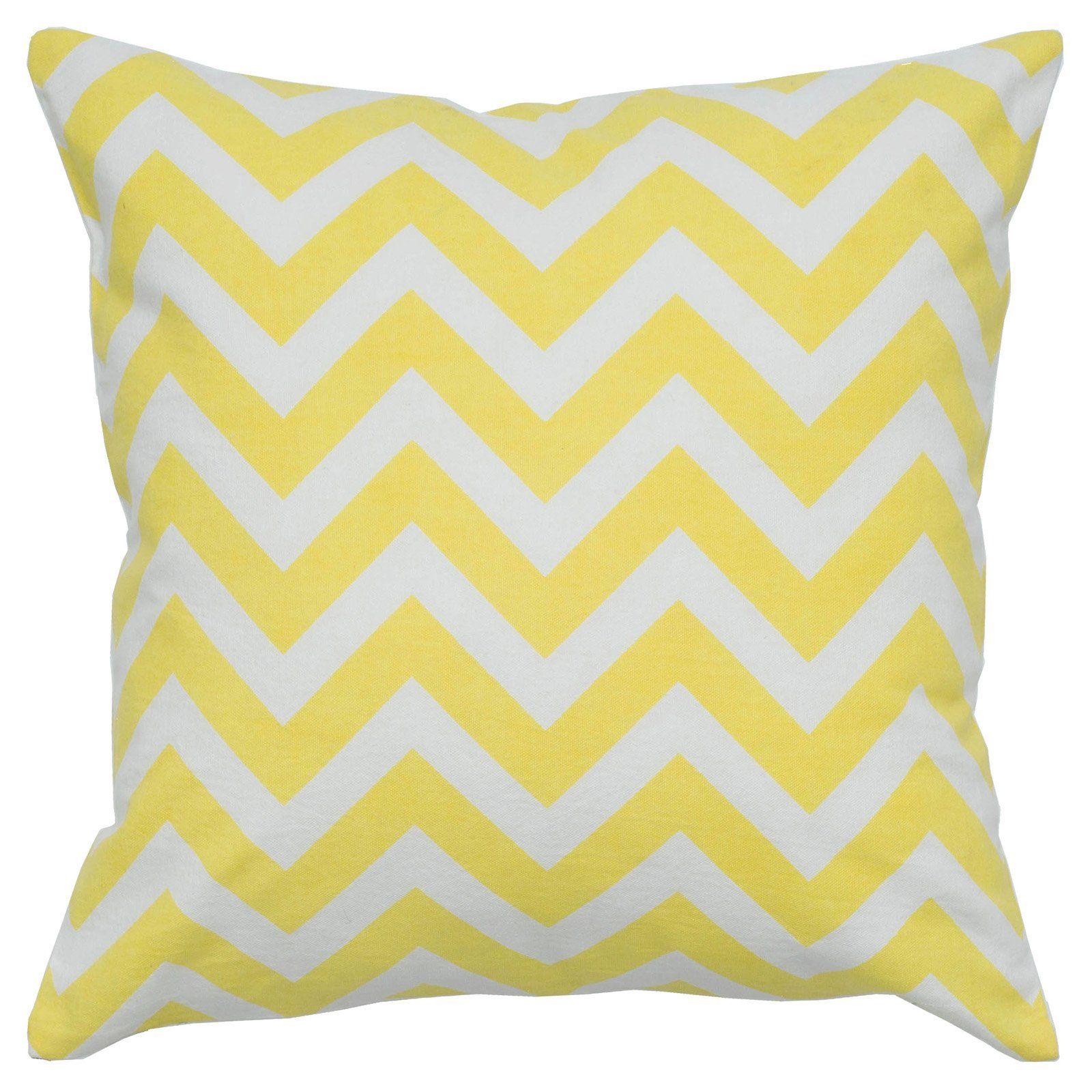 Rizzy Home 100% Cotton Chevron Decorative Throw Pillow Yellow