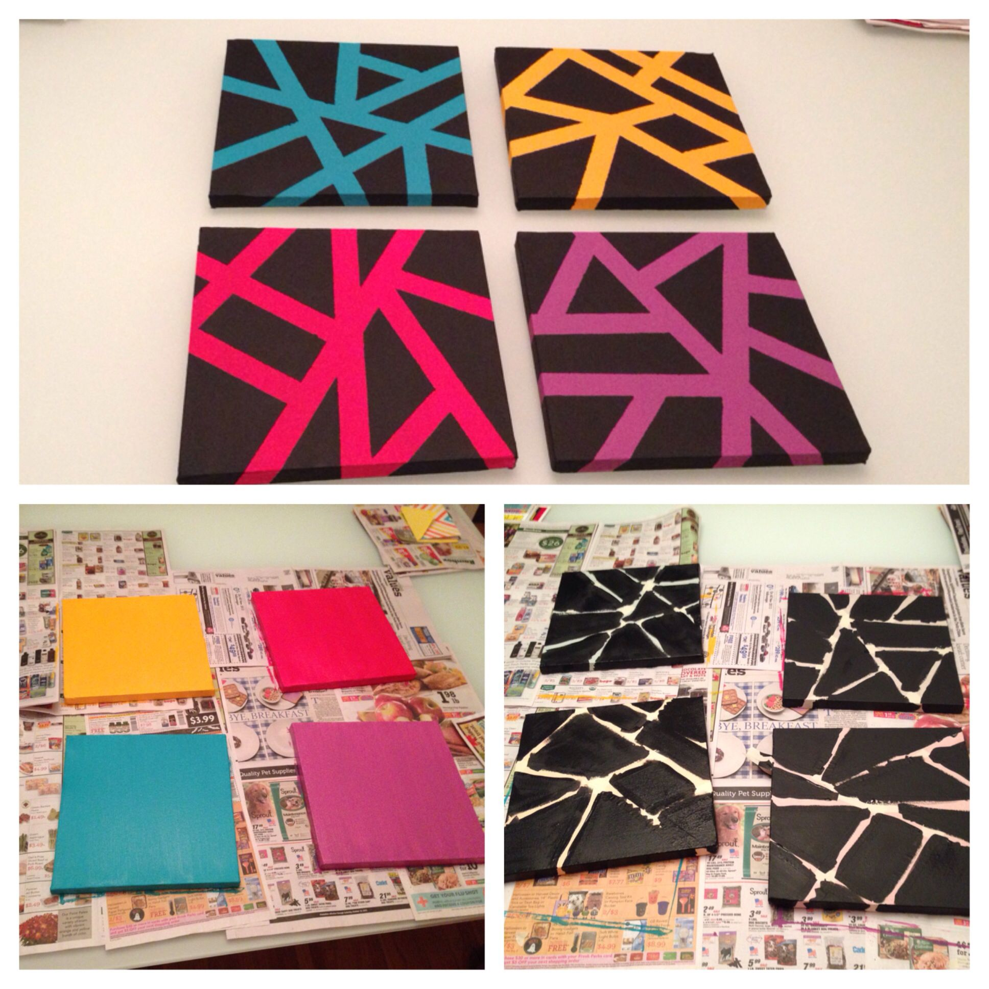 Painting Ideas With Tape: Easy Canvas Art With Painters Tape.