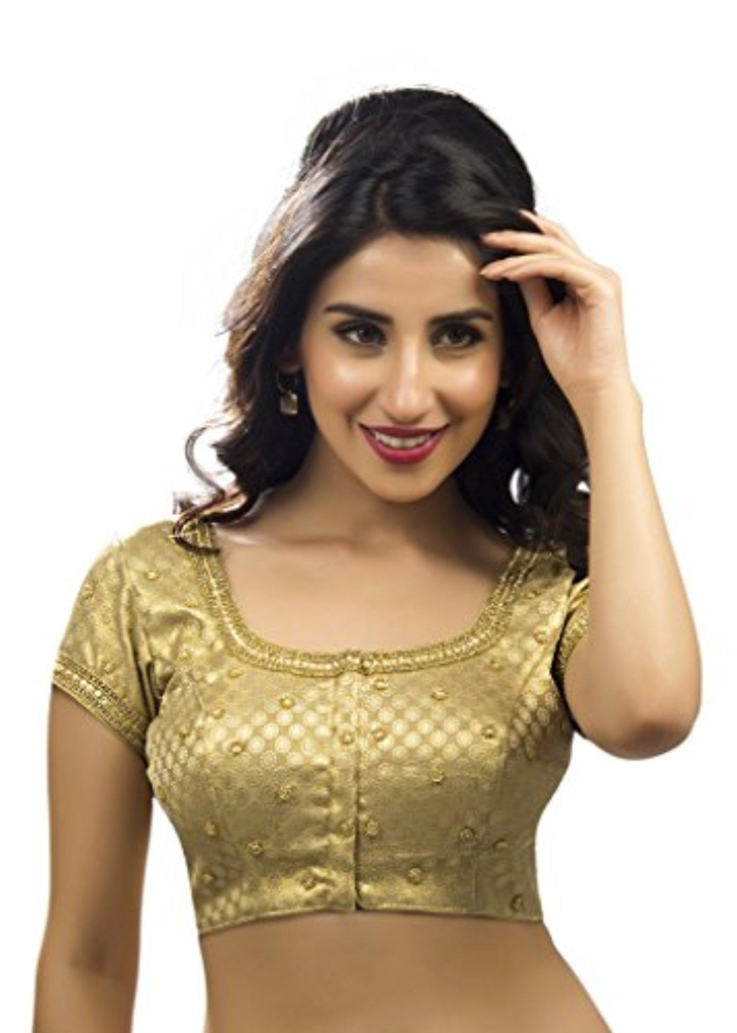 e0909b8d76c72 Bollywood Blouses Women s Designer Simple Gold Motif Saree Blouse Medium  Gold - Brought to you by Avarsha.com