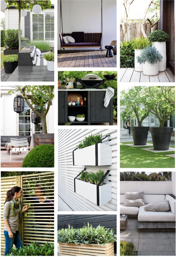 Moodboard groene tuin zwart wit accenten decoraci n for Decoracion jardin seco
