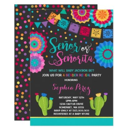 fiesta gender reveal invitation señor or señorita in 2018 baby