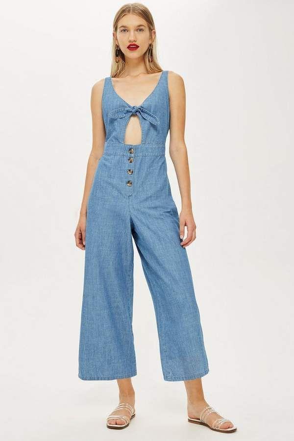 175c31eccdd0 Tie Front Denim Jumpsuit - Denim - Clothing