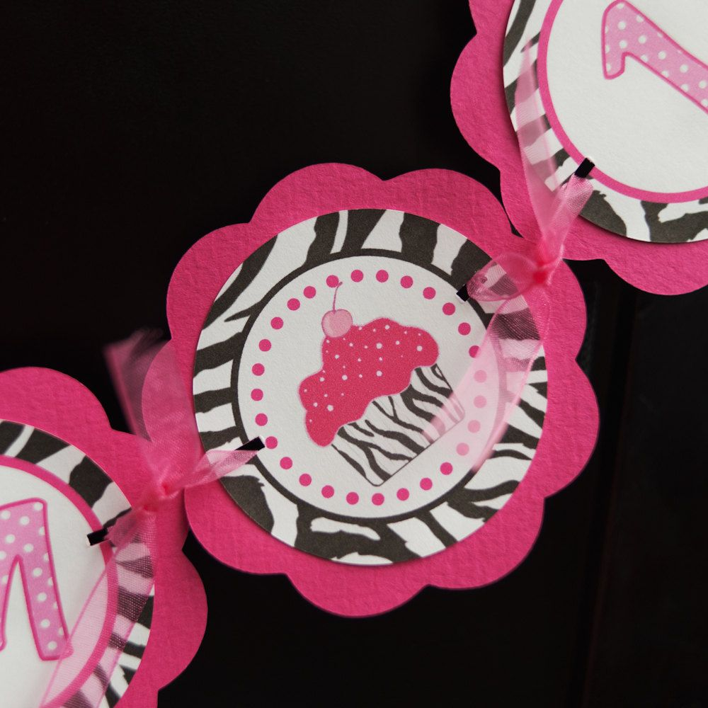 Cupcake Pink and Zebra I AM 1 Mini Banner Happy First Birthday