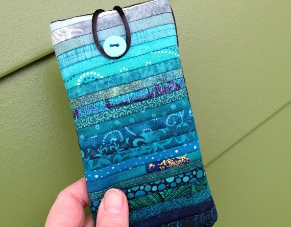 "Quilted eyeglass case. Soft sunglass case. Mini cell phone case. 3 x 6 "". by AnnBrauer"