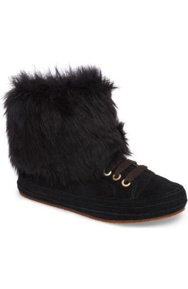 Antoine Fur And Suede Sneaker In Black