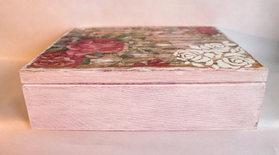 Caja de madera caja de decoupage día de las madres regalos