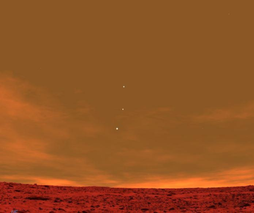 Earth, Jupiter and Venus from the skyline of Mars