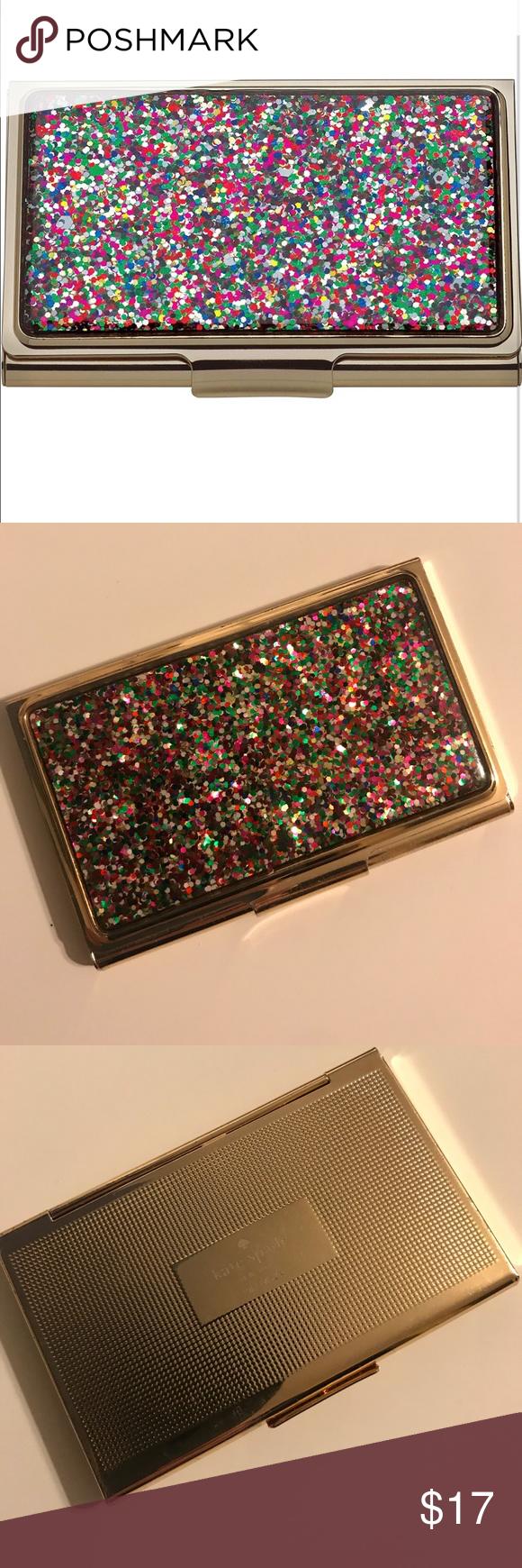 ♠️ kate spade multi glitter business card holder  glitter