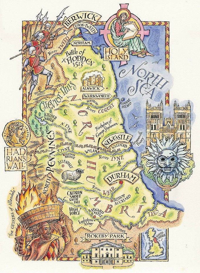 A Map Of Northumberland By David Hobbs Maps Pinterest Map