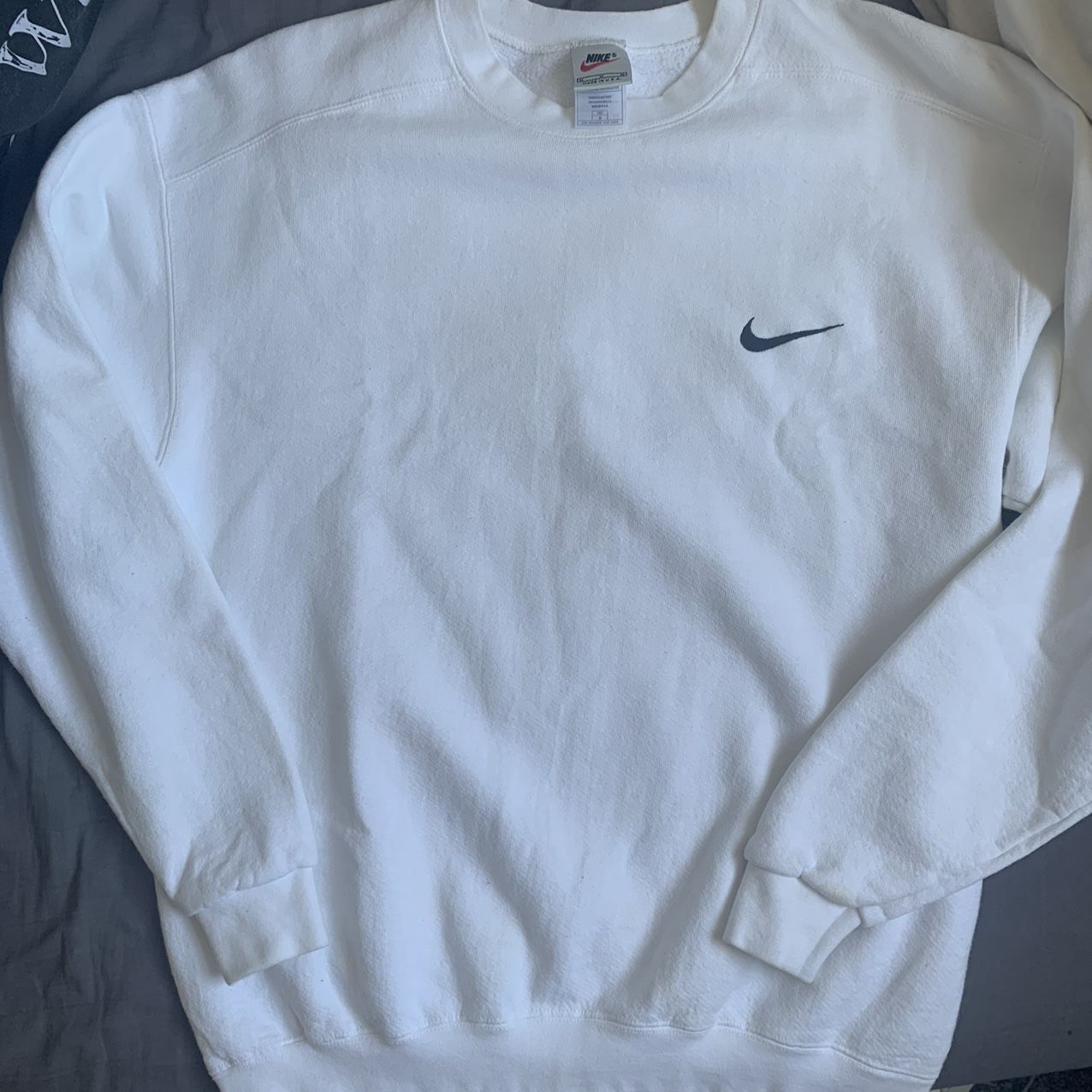 White Nike Sweatshirt Stain On The Sleeve But Depop White Nike Sweatshirt White Nikes Nike Sweatshirts [ 1276 x 1276 Pixel ]