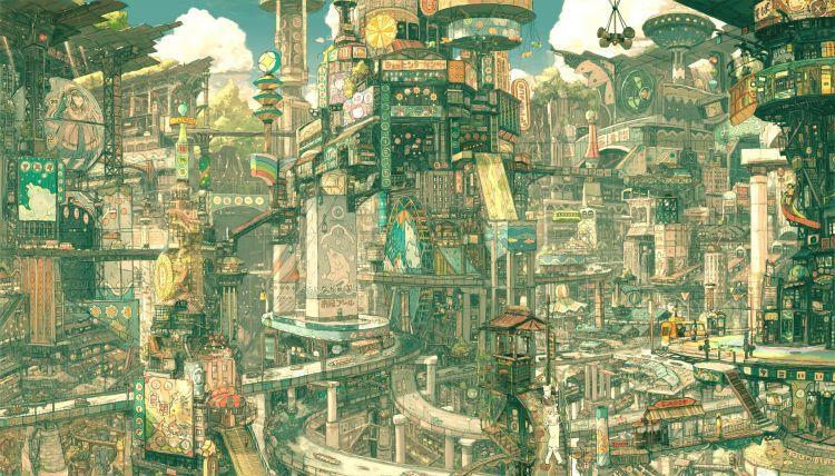 Fonds d 39 cran manga fonds d 39 cran divers ville japonaise for Architecture fantastique
