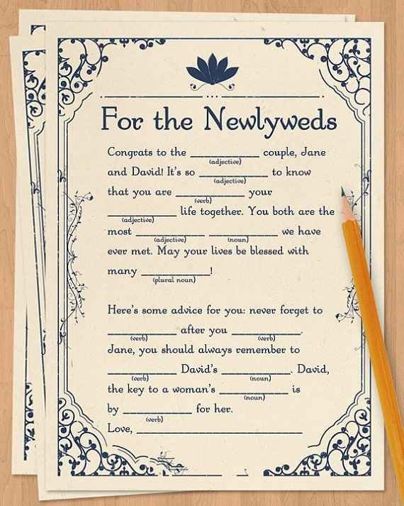 19ef62610df This would be super fun for the bridal party. Wedding Mad Libs