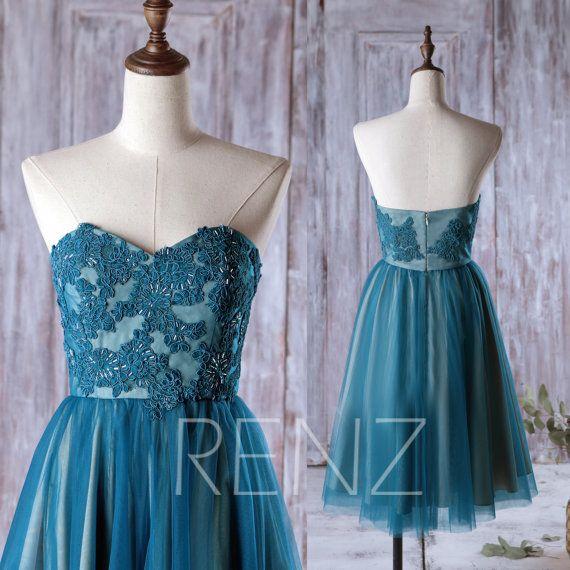 2017 Dark Teal Bridesmaid Dress, Tulle Wedding Dress, Lace ...