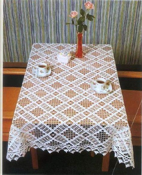 скатерть крючком филейное вязание Crochet Inspiration скатерти
