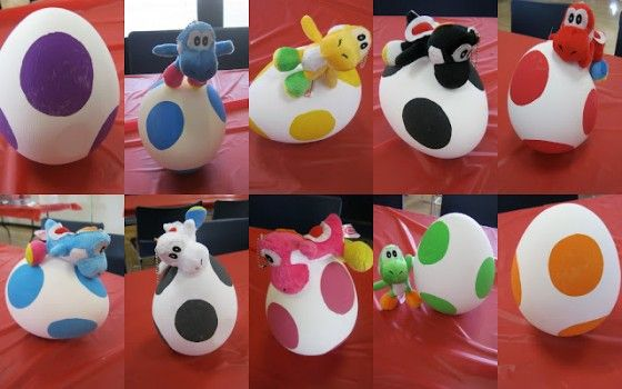 Yoshi Easter Eggs... such a simple idea. Awesome and young kids could do this one.