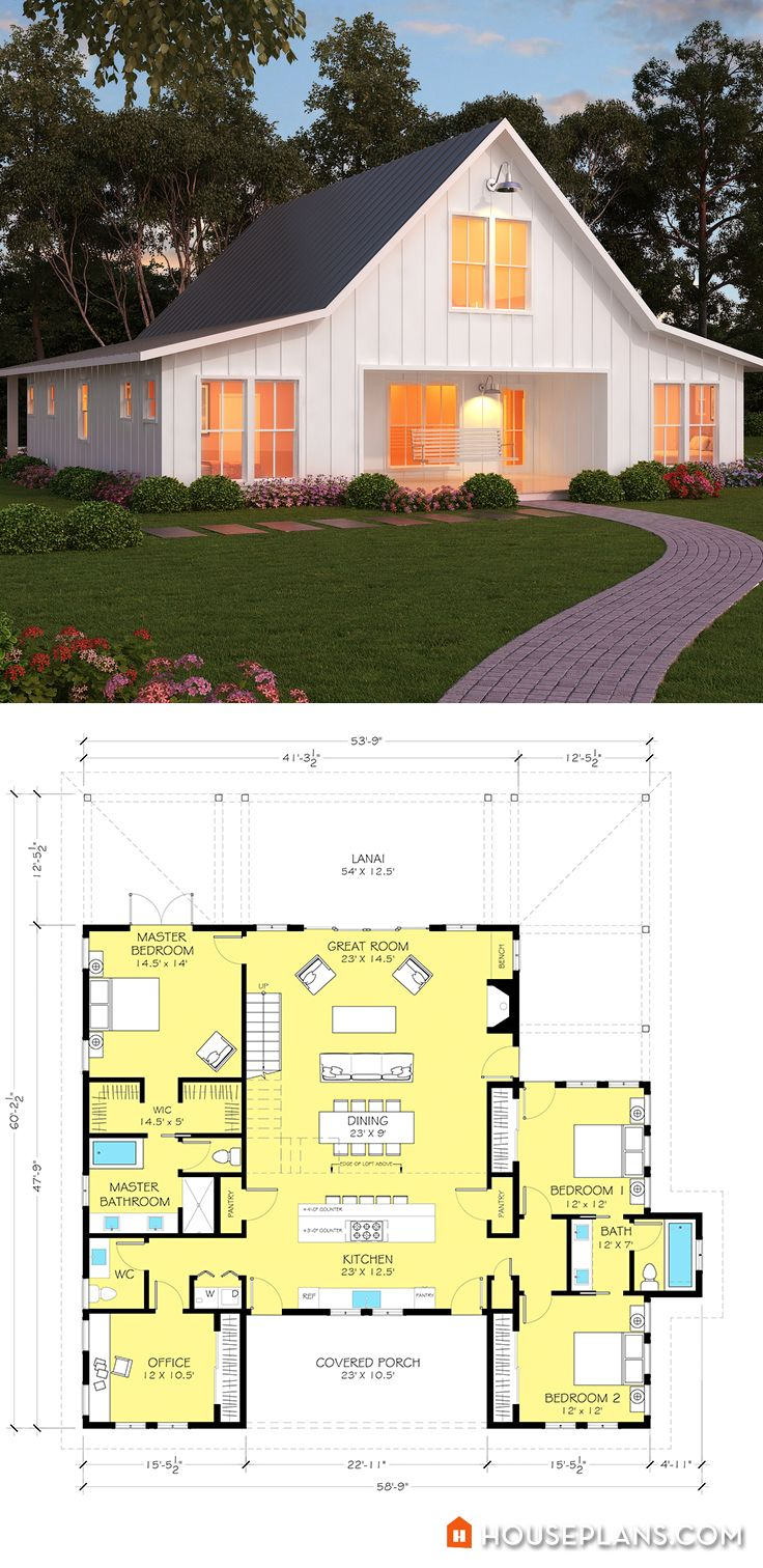 Modern farmhouse plans on pinterest modern farmhouse for Contemporary farmhouse floor plans