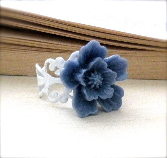 Indigo Blue Cabochon Rose Ring White by FromtheHeartbyAmber, $10.00