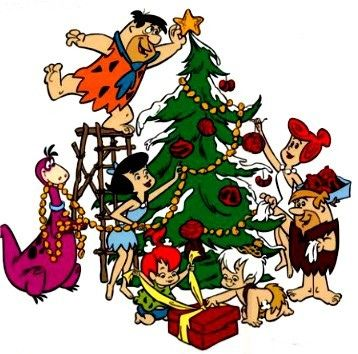 A Flintstones Christmas Tree Flintstone Christmas Christmas Cartoons Flintstones