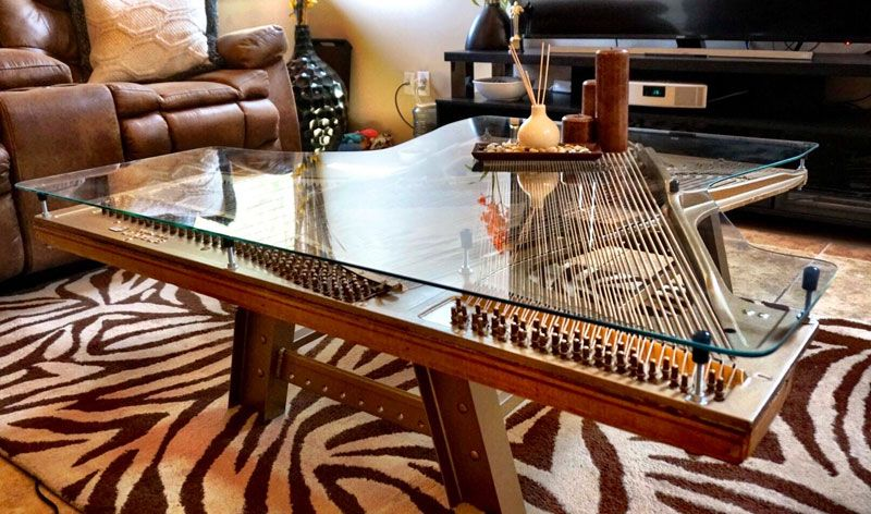 Abandoned And Broken Piano Finds News Life As Beautiful Coffee Table Twistedsifter Made Coffee Table Coffee Table Old Pianos