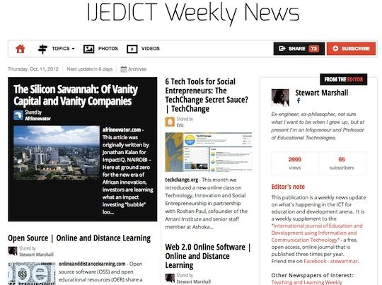 Oct 11 - JEDICT Weekly News is out:  This publication is a weekly news update on what's happening in the ICT for education and development arena.  Read and subscribe free at: http://paper.li/f-1325685118