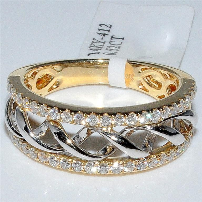 Wedding Band Diamond .52ct Two Tone 14K Gold 7.5mm Wide