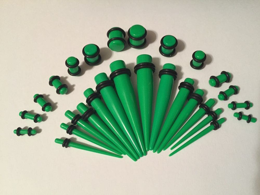 Sold as a Pair Candy Stripe Acrylic Ear Stretching Taper Green