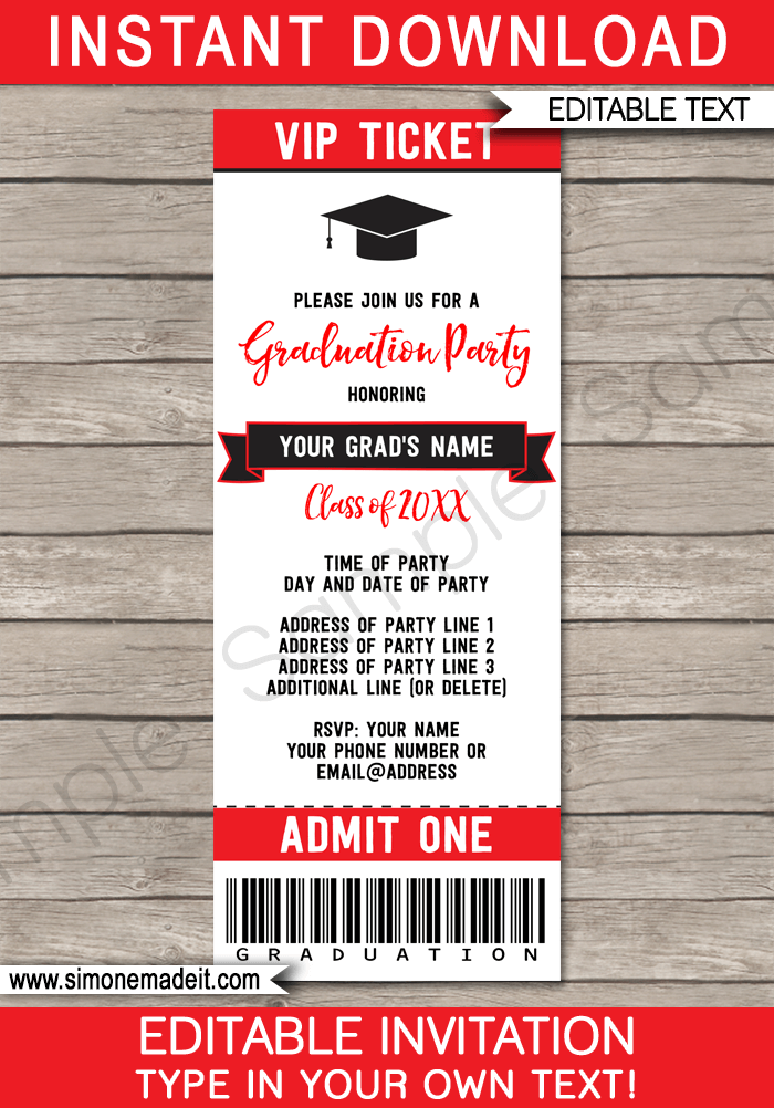 graduation party ticket invitations template graduation ideas