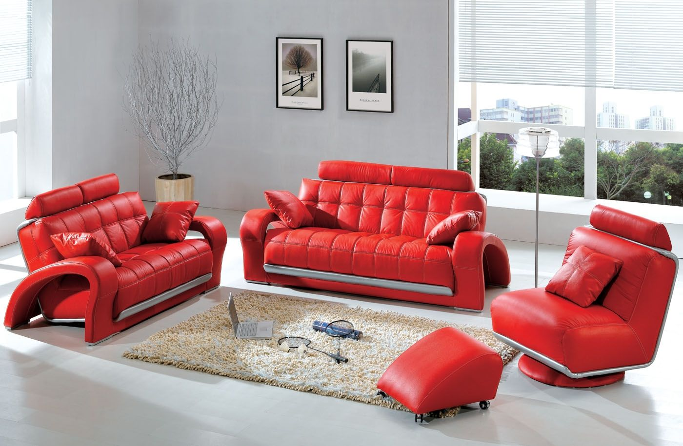 Elegant Living Room Design With Red Sofa Furniture Sets