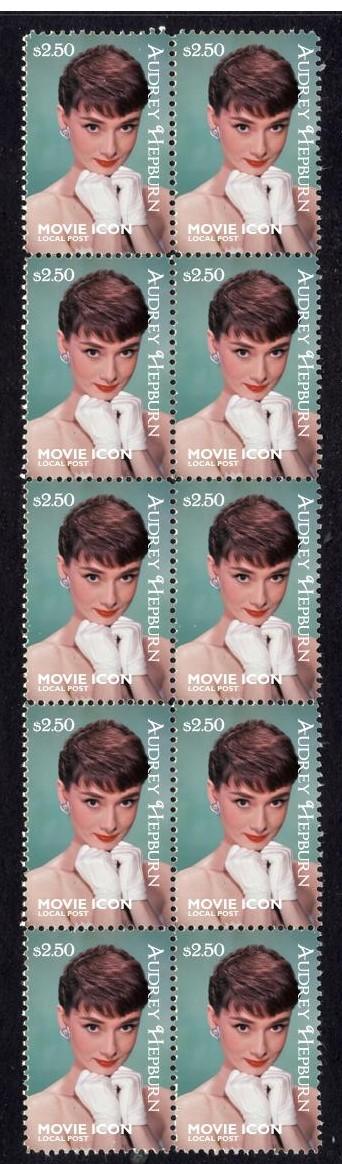 Audrey Hepburn Movie Icon Strip OF 10 Mint Stamps