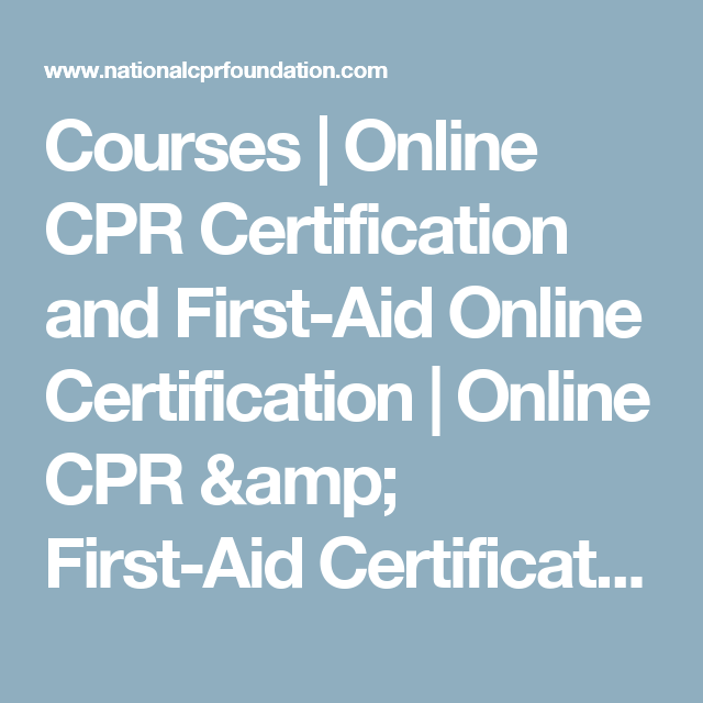 Courses | Online CPR Certification and First-Aid Online ...