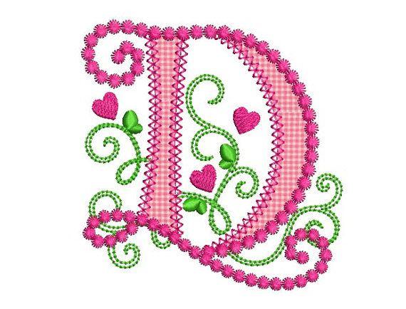 Embroidery file heartbeat alphabet D