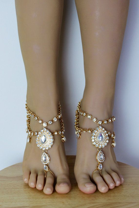 Aida Barefoot Sandals Foot Jewelry Gold Barefoot Sandals Wedding