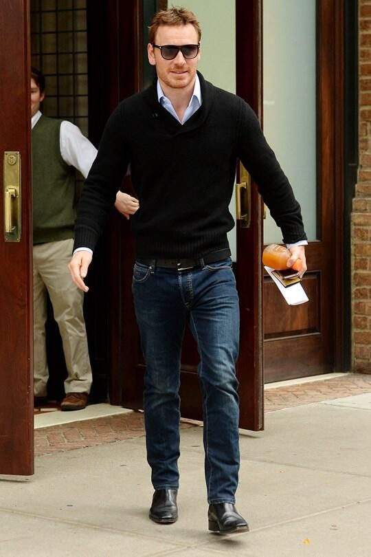 white. oxford. black sweater. jeans. black belt/ shoes/shades ...